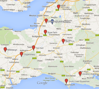 A map showing the locations of our Saddle Clinics